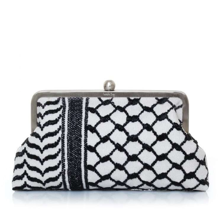 kaffieh classic bags black white classic evening handwork essentials front