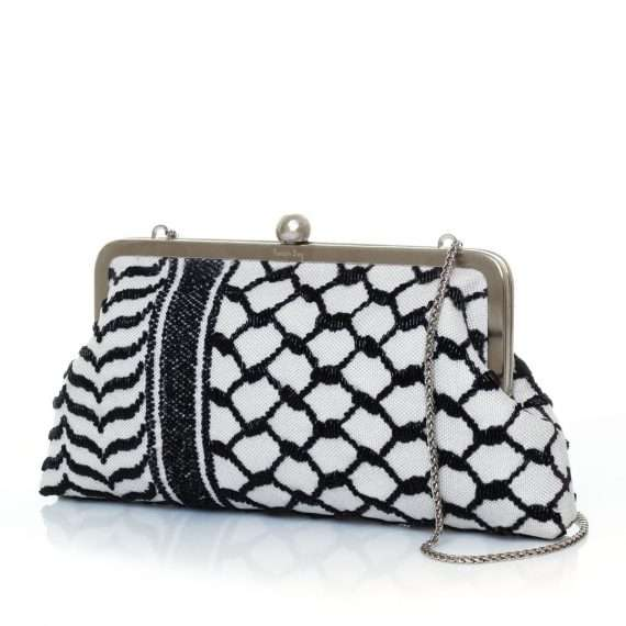 kaffieh classic bags black white classic evening handwork essentials side