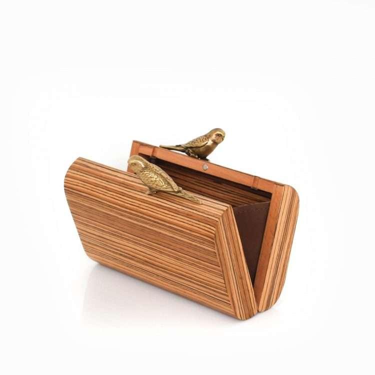 birds log lovers bags neutrals straw/wood evening novelty afrodisiac bridal open