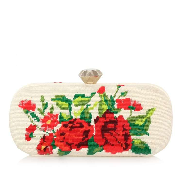 red roses canvas big box bags neutrals red big box evening handwork bridal front