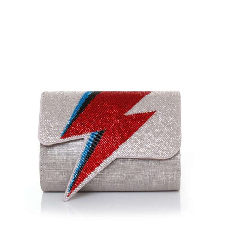 bowie red on silver bags red silver evening handwork discotheque front