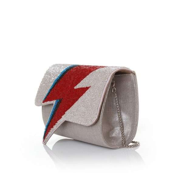 bowie red on silver bags red silver evening handwork discotheque side