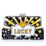 lucky gold clutch me bags black gold clutch me day handwork discotheque front