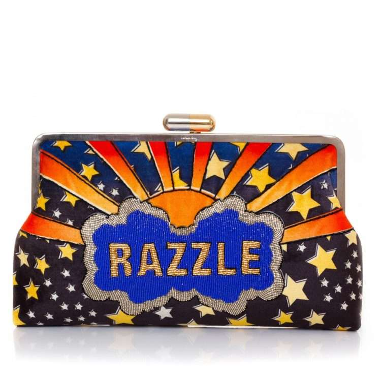 dazzle clutch me bags blue multicolor clutch me day handwork discotheque front