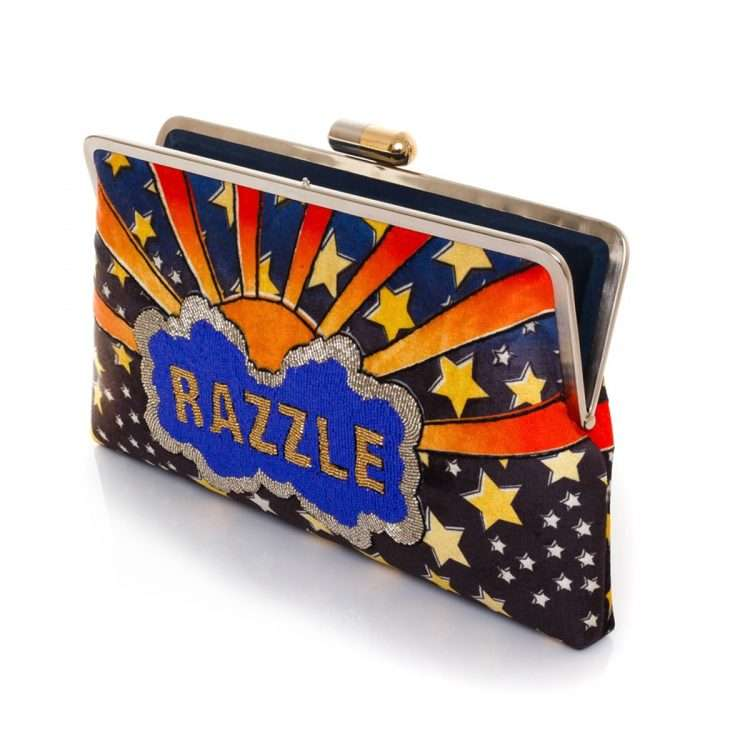 dazzle clutch me bags blue multicolor clutch me day handwork discotheque open