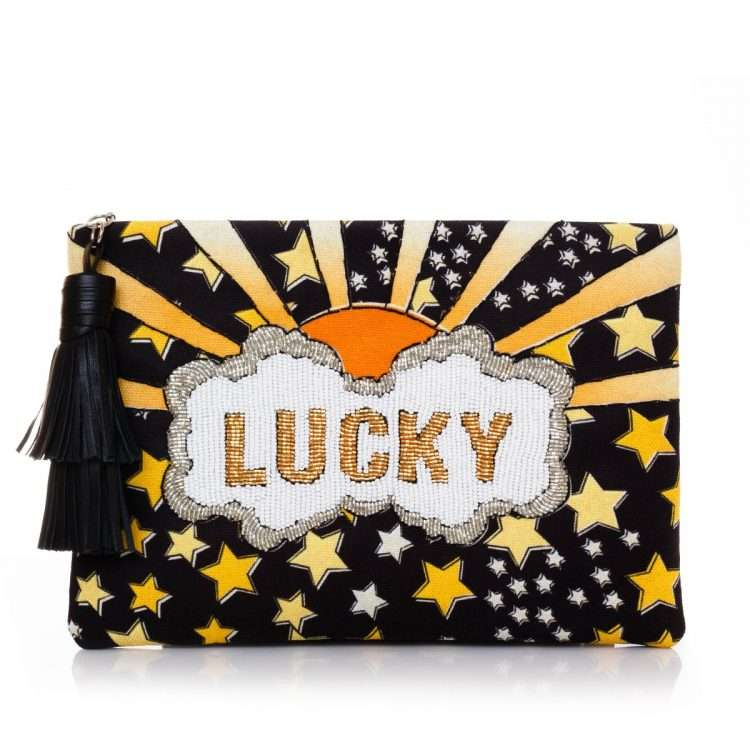 lucky gold pouch bags black yellow classic day handwork discotheque front