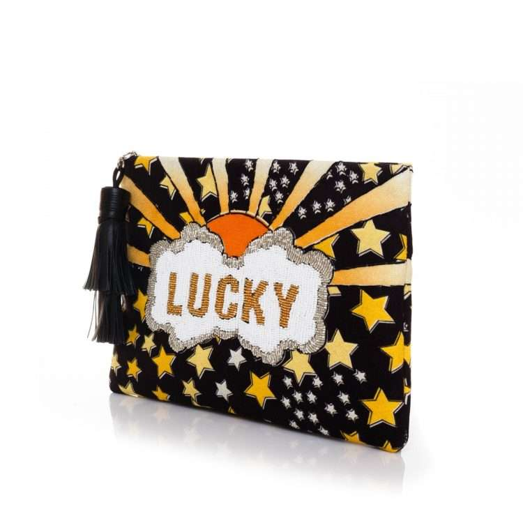 lucky gold pouch bags black yellow classic day handwork discotheque side