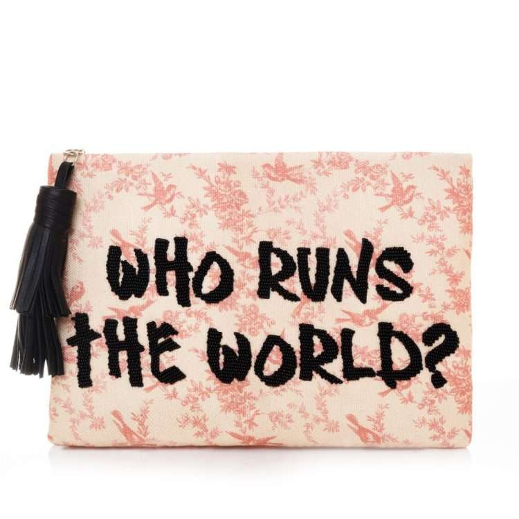 who run the world pouch bags pastels pouch day handwork rise up front