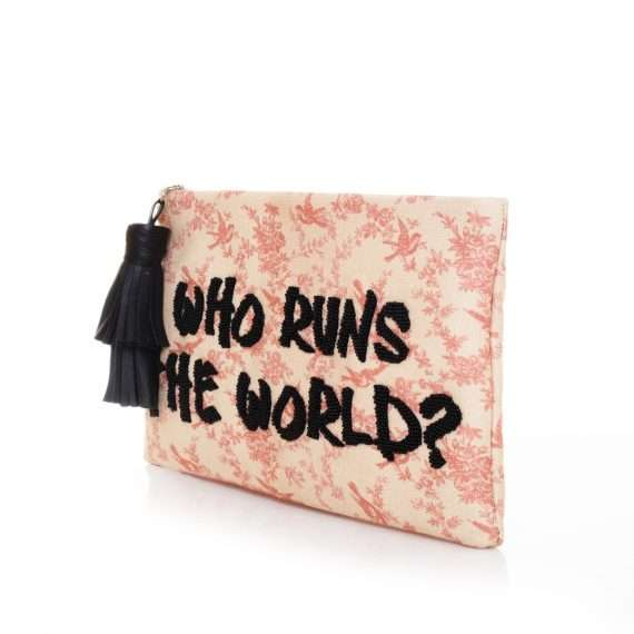 who run the world pouch bags pastels pouch day handwork rise up side