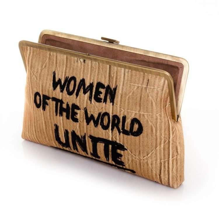 woman unite clutch me bags neutrals clutch me day handwork rise up open