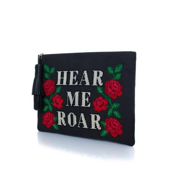 roar pouch bags black pouch day handwork rise up side