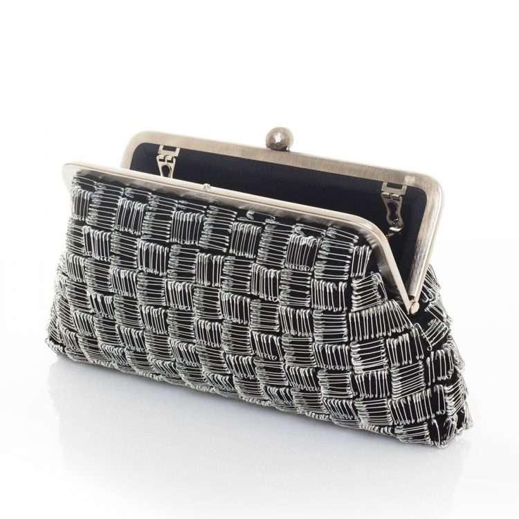 pins black classic bags black metallic silver classic evening handwork essentials red carpet open