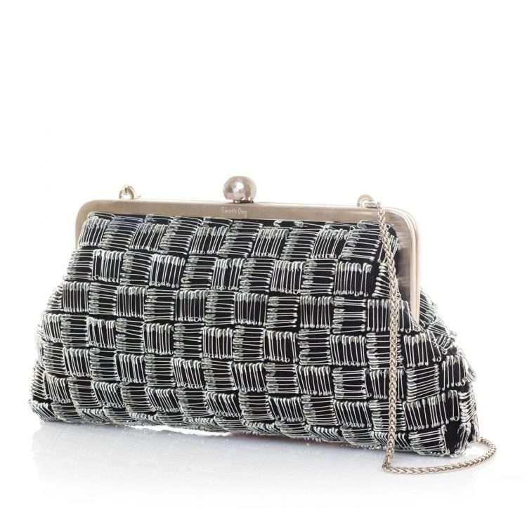 pins black classic bags black metallic silver classic evening handwork essentials red carpet side