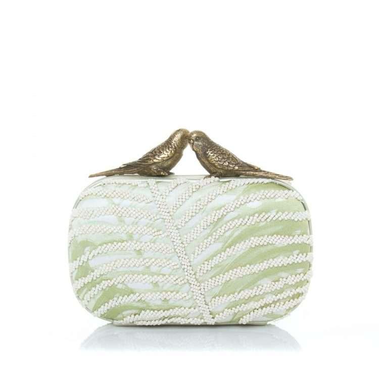 ivory bronze birds box bags neutrals box evening handwork bridal front