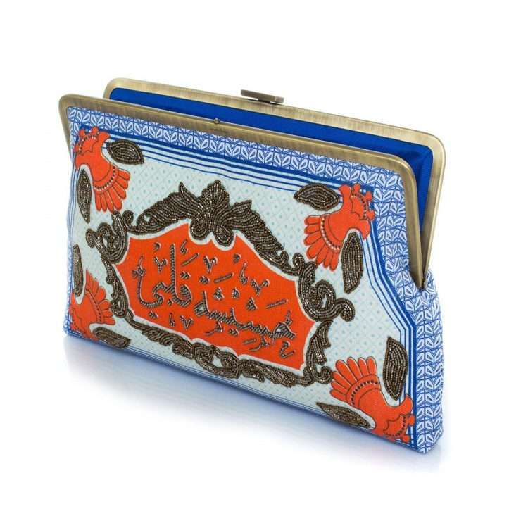 hashishet albi clutch me bags blue multicolor clutch me day handwork impressions open