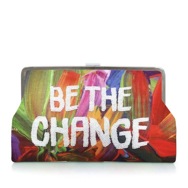 be the change clutch me bags multicolor red clutch me day handwork rise up front