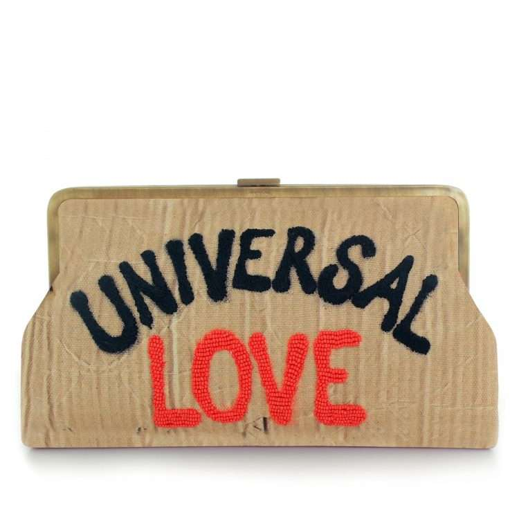 universal love clutch me bags neutrals clutch me day handwork rise up front