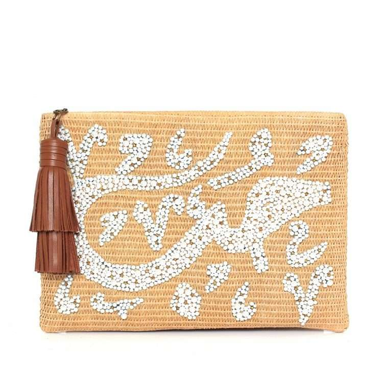 hobb loulou straw pouch bags straw/wood pouch day handwork bridal oriental front