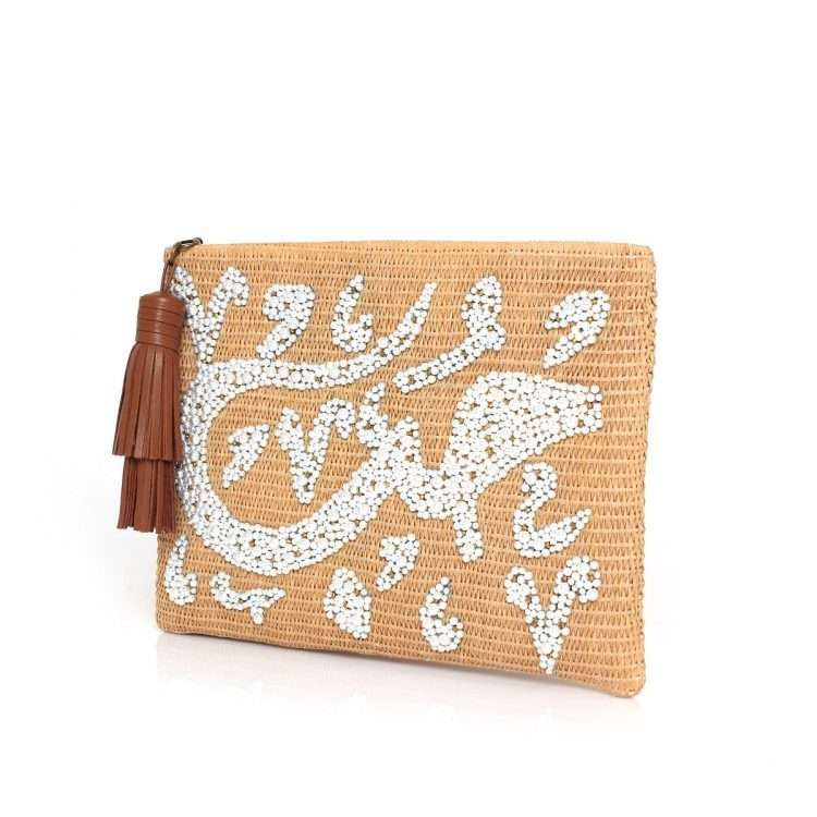 hobb loulou straw pouch bags straw/wood pouch day handwork bridal oriental side