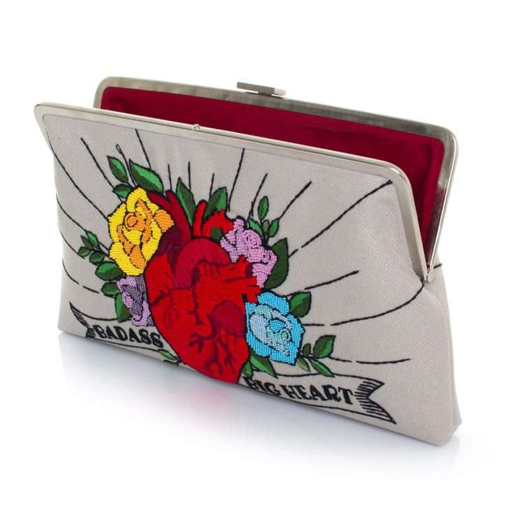 corazon clutch me bags multicolor red clutch me day handwork love inked open