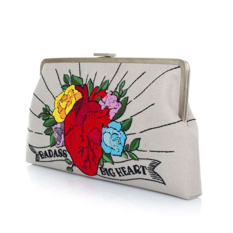 corazon clutch me bags multicolor red clutch me day handwork love inked side