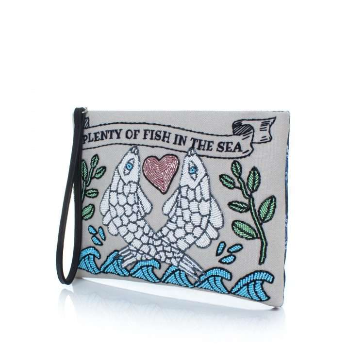 pisces pouch bags blue pastels pouch day handwork love inked side