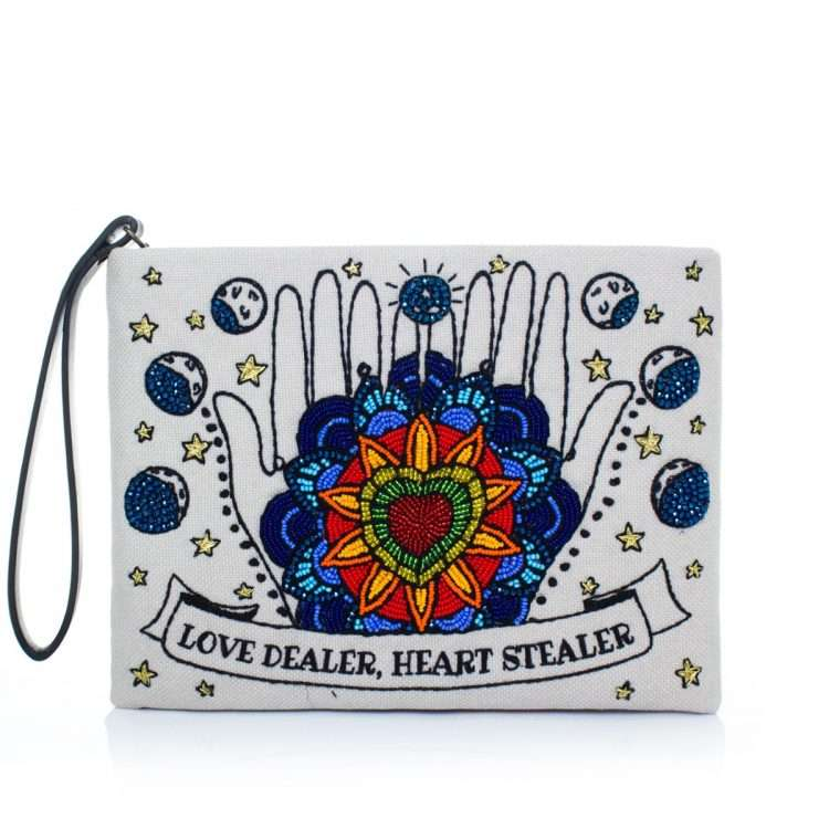 love dealer pouch bags blue neutrals pouch day handwork love inked front