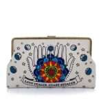 love dealer clutch me bags blue neutrals clutch me day handwork love inked front