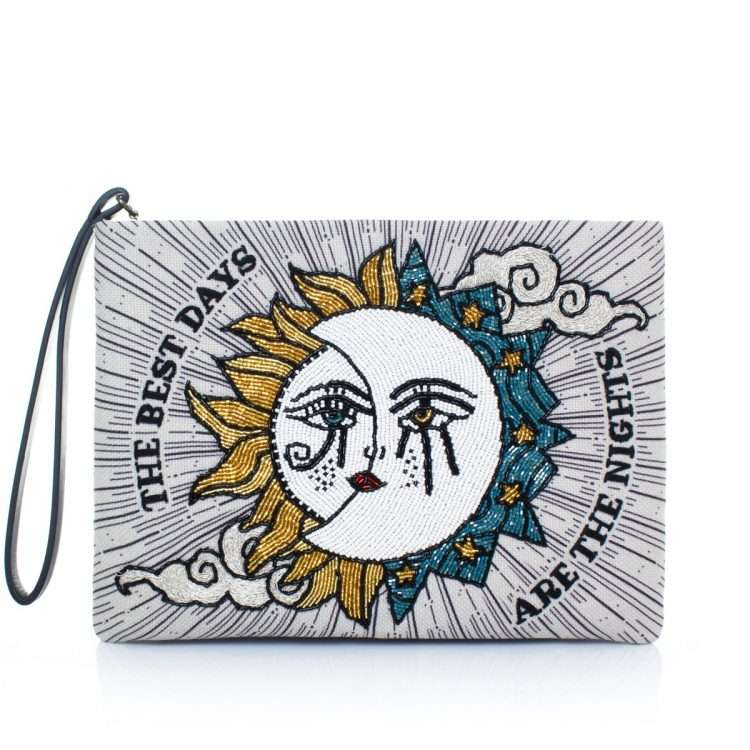 sun to moon pouch bags blue neutrals pouch day handwork love inked front