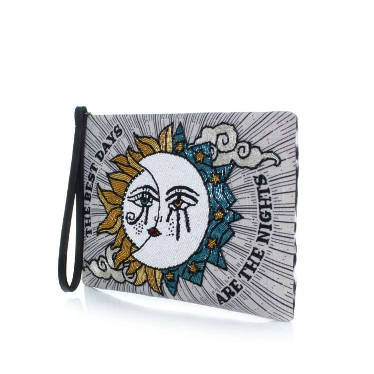 sun to moon pouch bags blue neutrals pouch day handwork love inked side