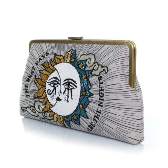 sun to moon clutch me bags blue neutrals clutch me day handwork love inked side
