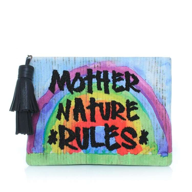 mother nature rules pouch bags blue multicolor pouch day handwork rise up front