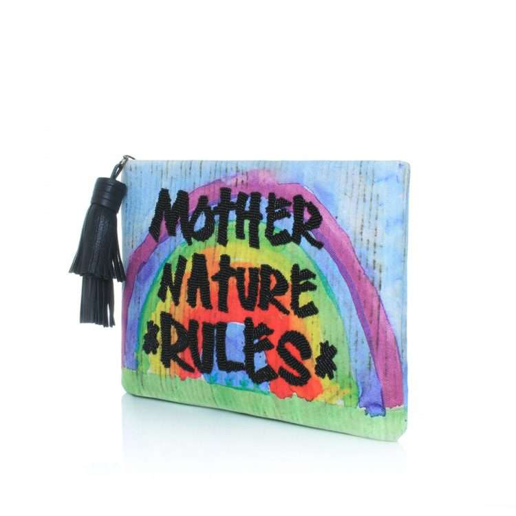 mother nature rules pouch bags blue multicolor pouch day handwork rise up side