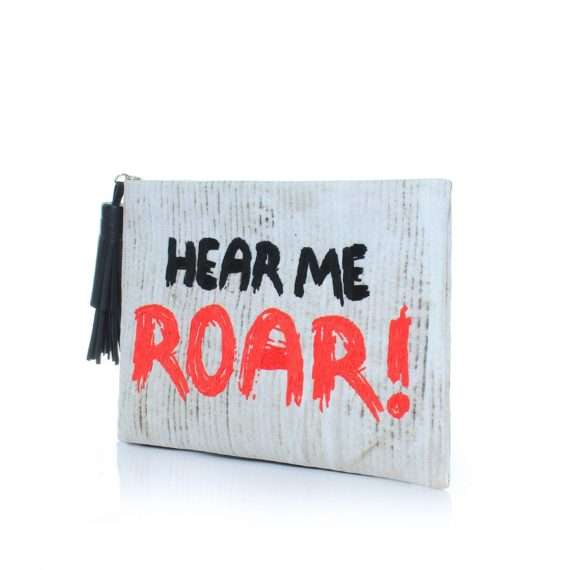 hear me roar grey pouch bags white pouch day handwork rise up side