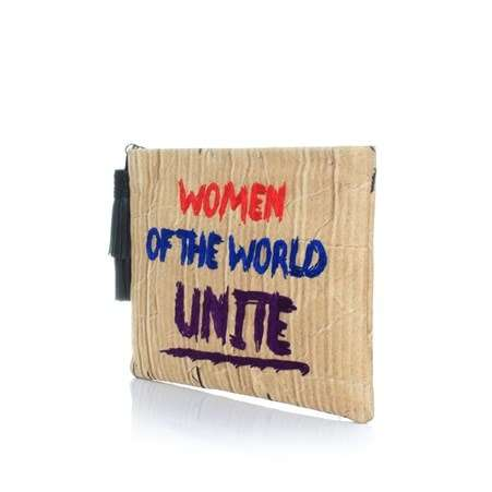 women of the world unite color pouch bags neutrals pouch day handwork rise up side