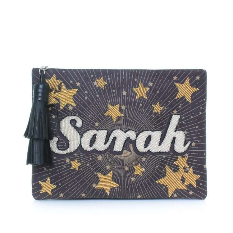 say my name stars pouch bags black gold metallic pouch day handwork customized front