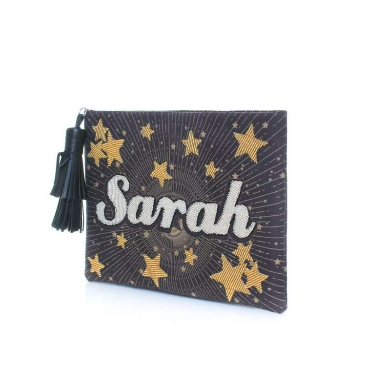 say my name stars pouch bags black gold metallic pouch day handwork customized side