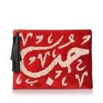 hobb loulou red velvet pouch bags red pouch evening handwork bridal oriental front