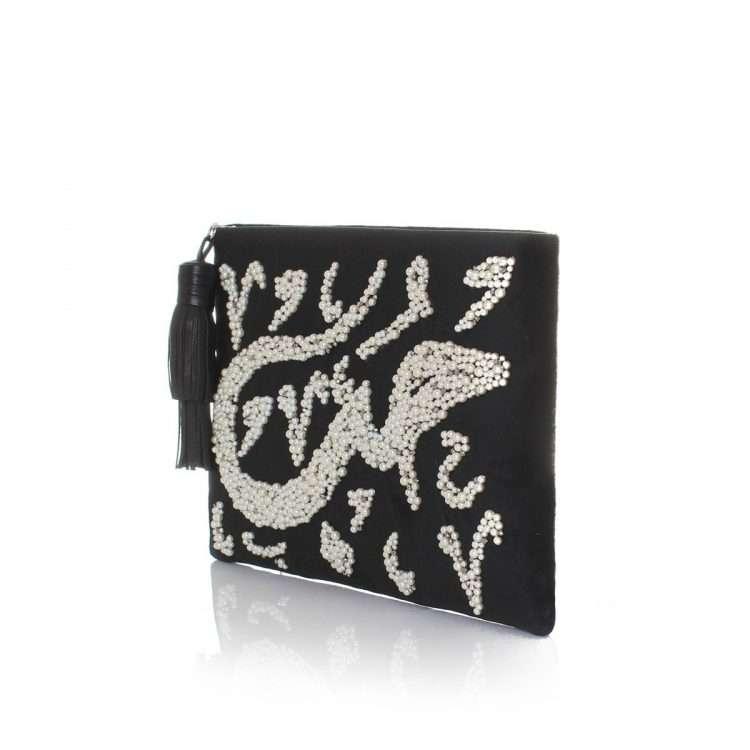 hobb loulou black velvet pouch bags black pouch evening handwork bridal oriental side