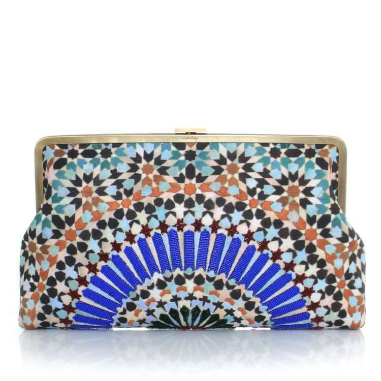 zellige clutch me bags blue multicolor clutch me day handwork oriental front