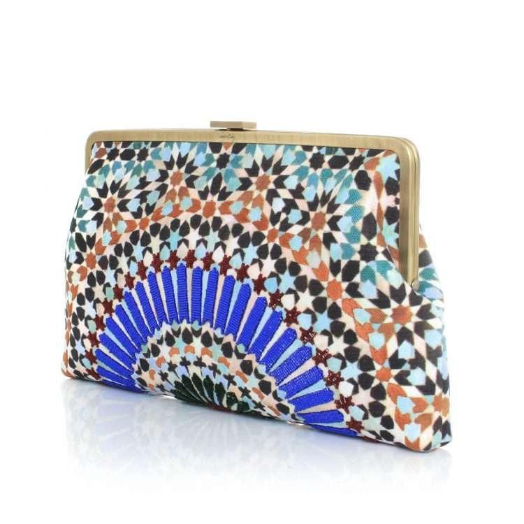 zellige clutch me bags blue multicolor clutch me day handwork oriental side