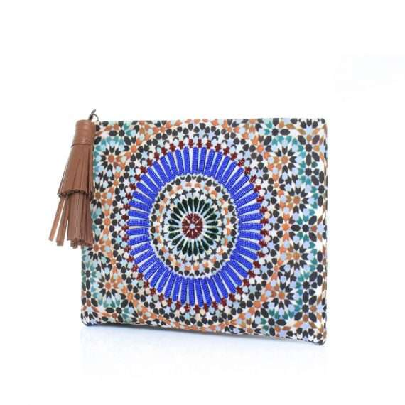 zellige pouch bags blue multicolor pouch day handwork oriental side