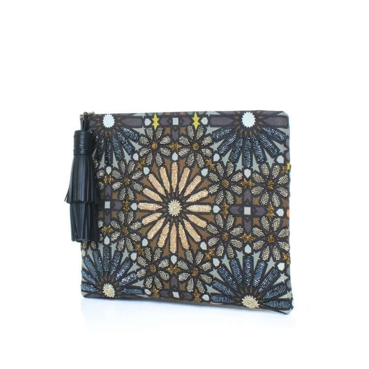 moroccan metallic pouch bags metallic big box evening handwork oriental side