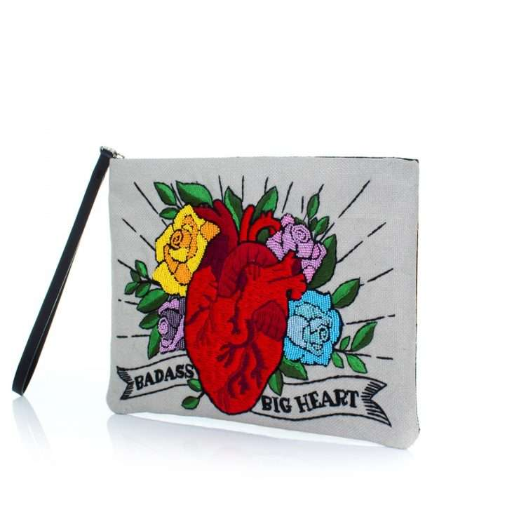 corazon pouch bags multicolor red pouch day handwork love inked side