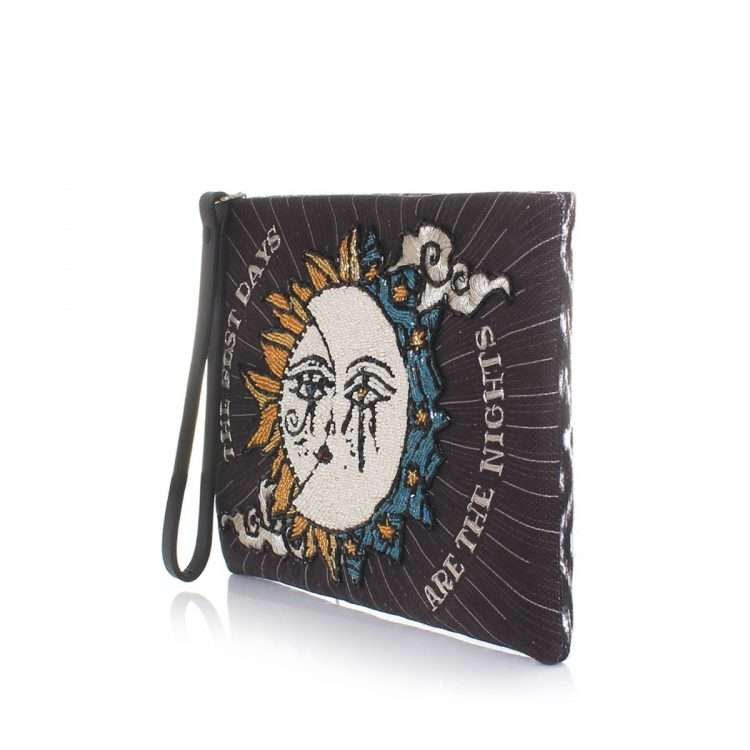 sun to moon black pouch bags black pouch day handwork love inked side