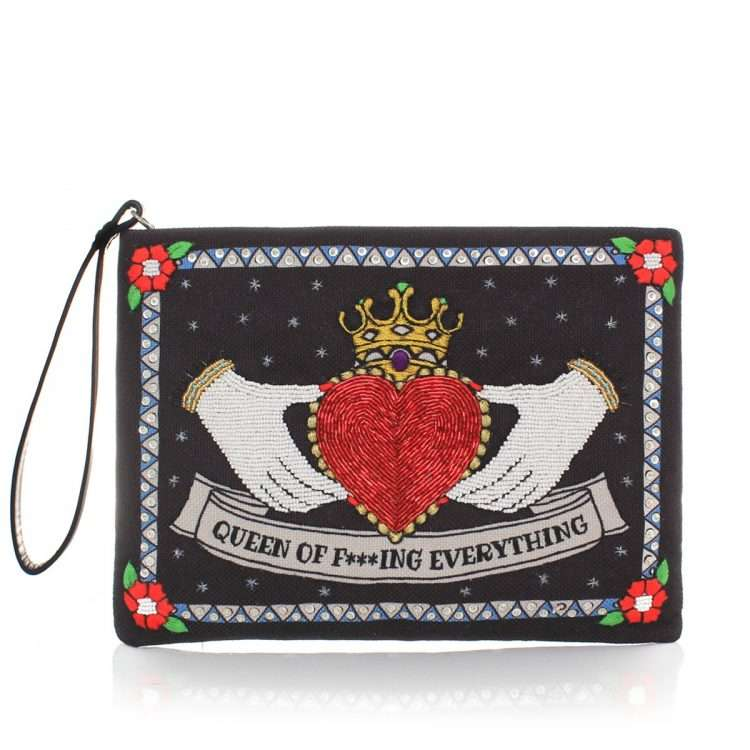 queen black pouch bags black pouch day handwork love inked front