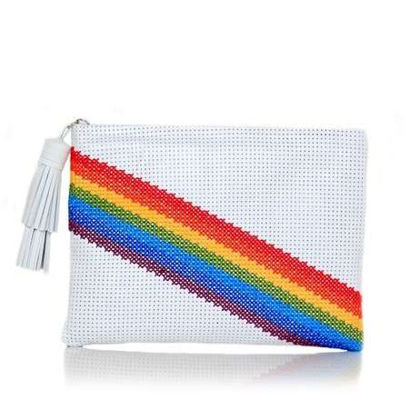 pixel rainbow white pouch bags multicolor white pouch day handwork discotheque front
