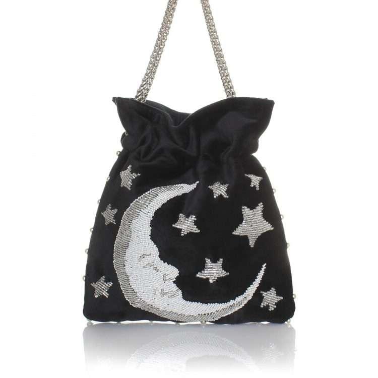 moon night bags black night evening handwork love inked front