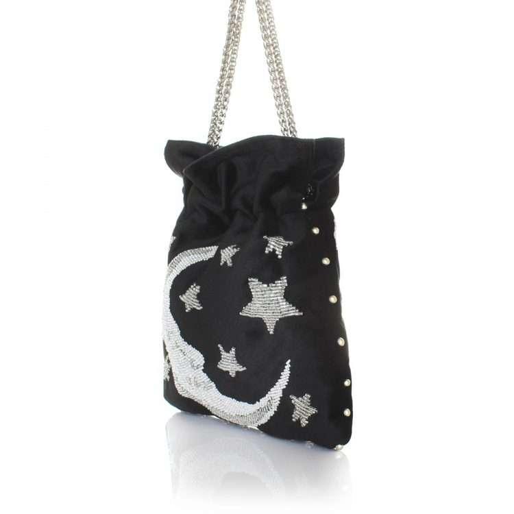 moon night bags black night evening handwork love inked side