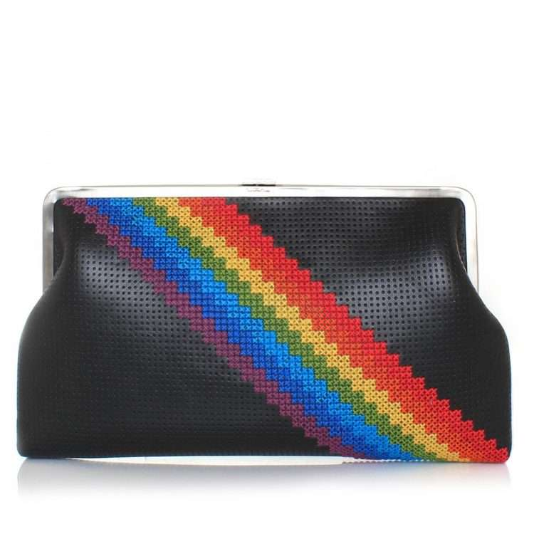 pixel rainbow clutch me bags black multicolor clutch me day handwork discotheque front